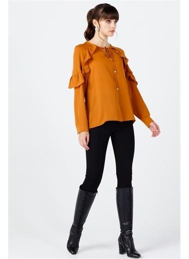 Ekol Ekol Kadın Bağcıklı Sıfır Yaka Bluz 02103  Hardal